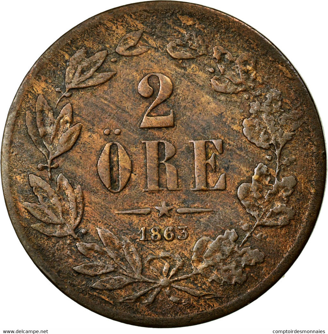Monnaie, Suède, Carl XV Adolf, 2 Öre, 1863, TB, Bronze, KM:706 - Suède