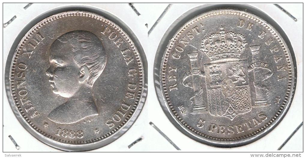 ESPAÑA ALFONSO XIII 5 PESETAS 1888 MS M PLATA SILVER RARA EXCEPCIONAL - Sin Clasificación