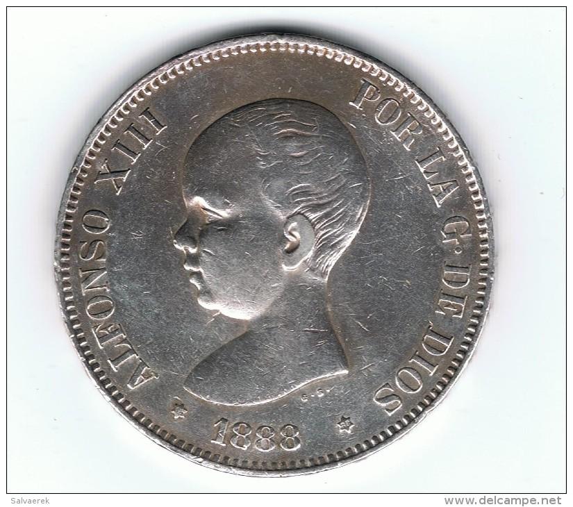 ESPAÑA ALFONSO XIII 5 PESETAS 1888 MS M PLATA SILVER RARA EXCEPCIONAL - [ 1] …-1931 : Reino