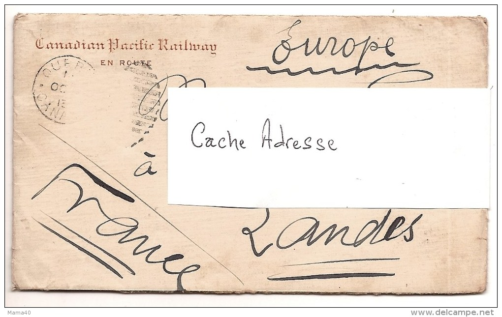 CANADA - CHEMIN DE FER - CANADIAN PACIFIC RAILWAY - Enveloppe + Papier à Lettre De 1913 - Lettres & Documents