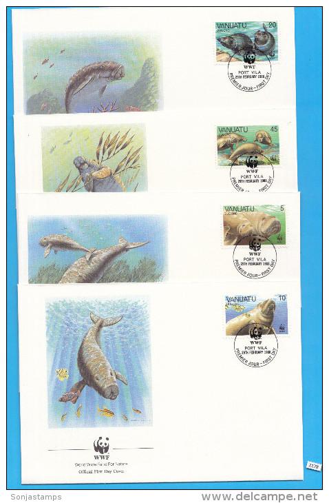 VANUATU 1988; FDC, Complete Set Of 4; Mi: 782 - 785; WWF, Dugong, Sirenians, Mammals - Vanuatu (1980-...)