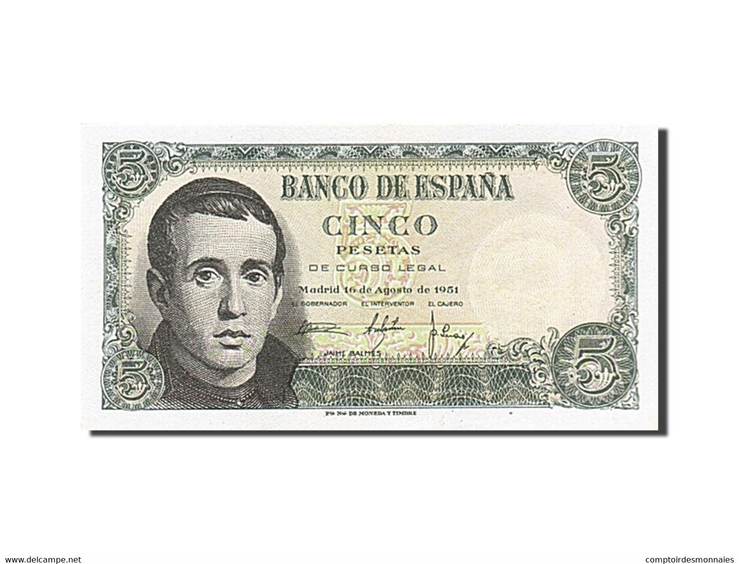 [#258255] Espagne, 5 Pesetas, Type Jaime Balmes - [ 3] 1936-1975 : Régence De Franco