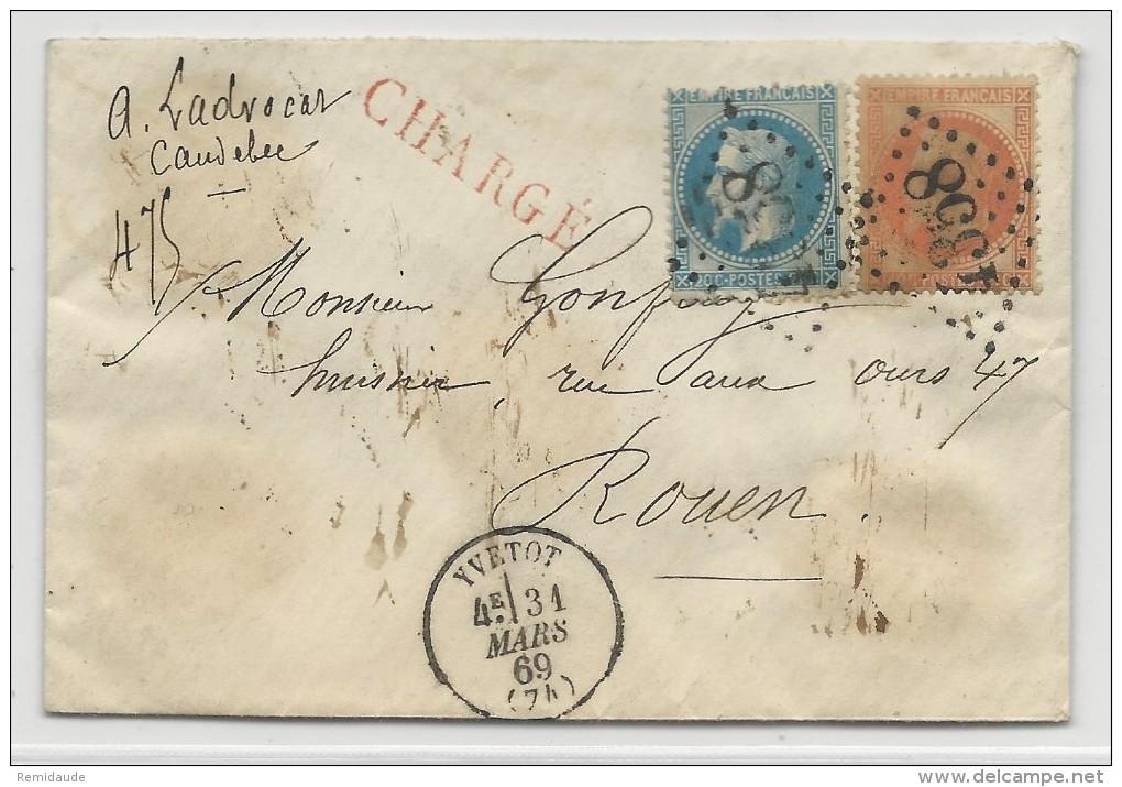 EMPIRE LAURE - 1869 - ENVELOPPE CHARGEE De YVETOT (SEINE MARITIME) Pour ROUEN - 1849-1876: Période Classique