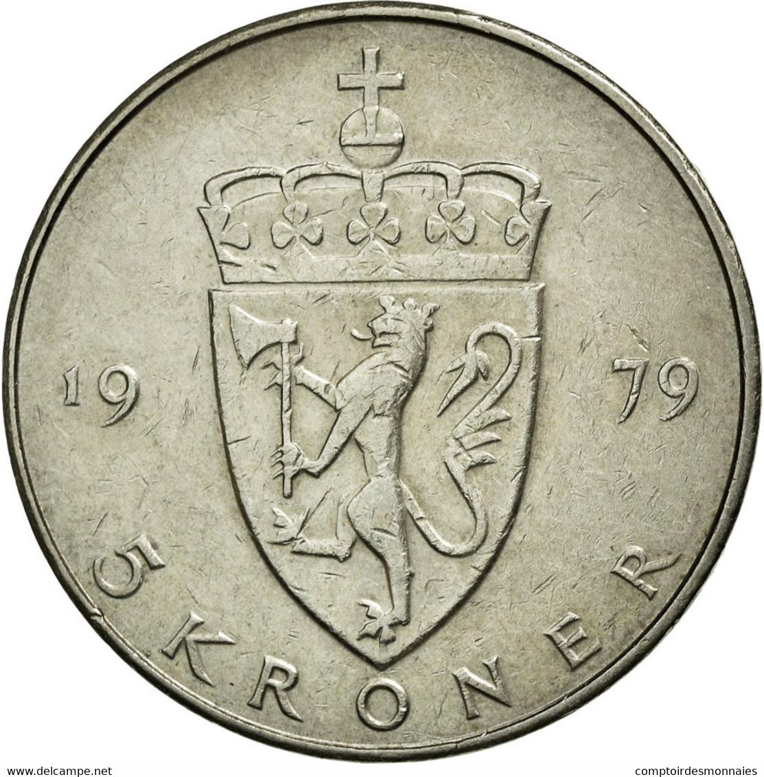 Monnaie, Norvège, Olav V, 5 Kroner, 1979, TTB+, Copper-nickel, KM:420 - Norvège