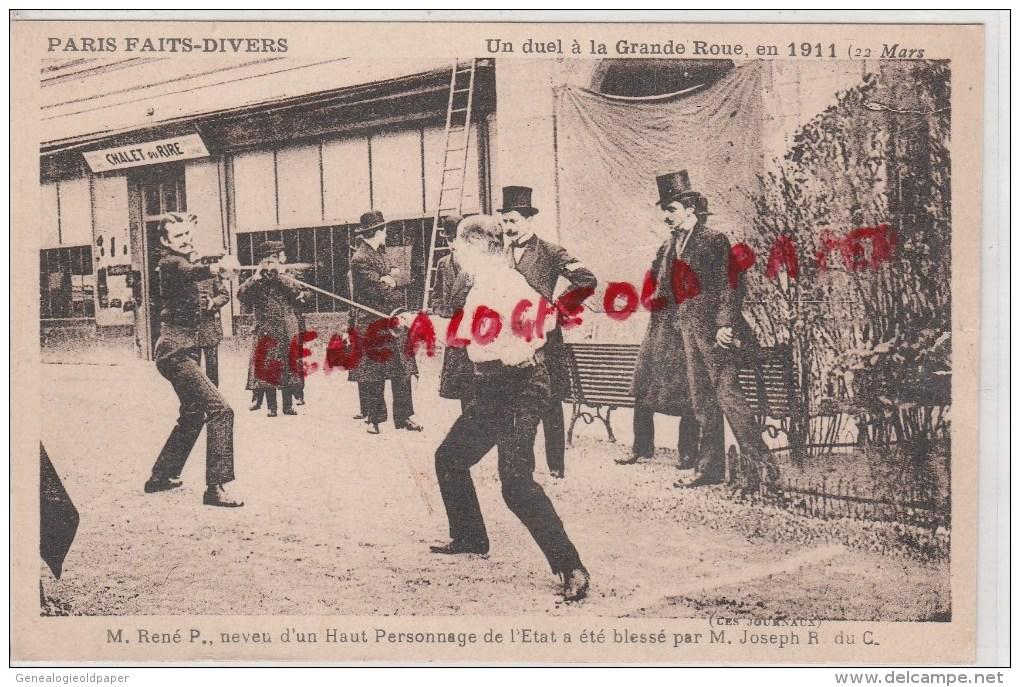 87 - ISLE -  75- PARIS - UN DUEL A LA GRANDE ROUE EN 1911- RENE P. BLESSE PAR JOSEPH ROMANET DU CAILLAUD -TRES RARE - Autres Communes