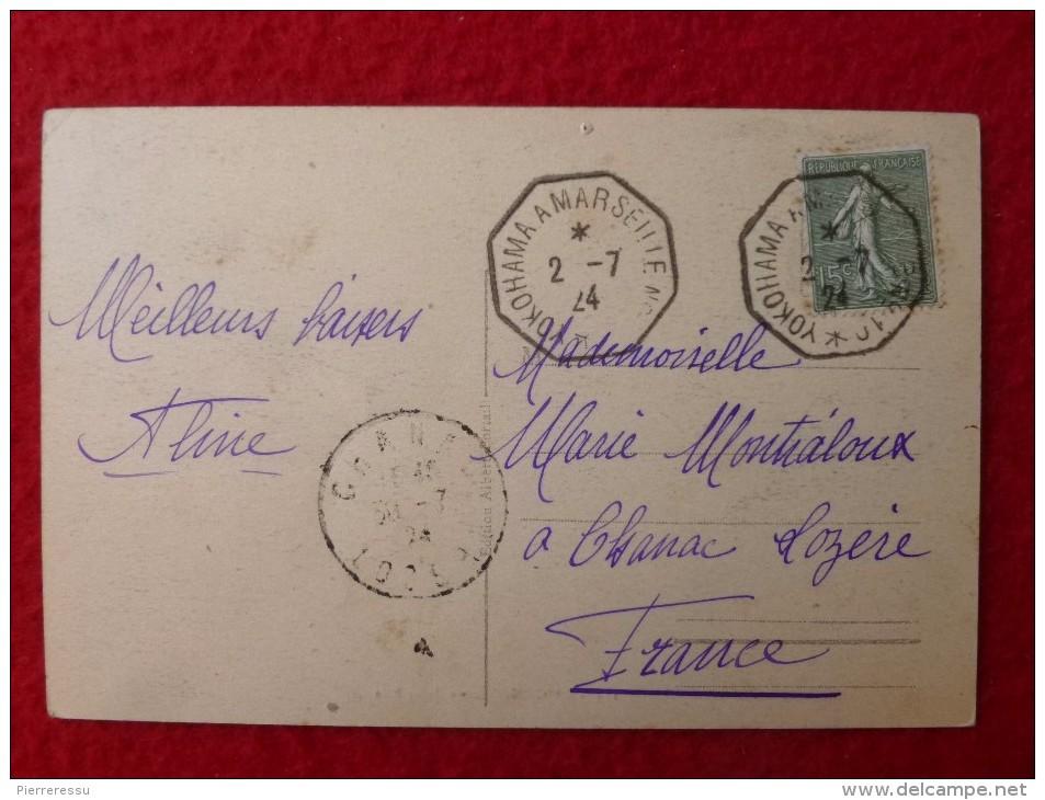 CACHET DE LIGNE YOKOHAMA A MARSEILLE N° 10 CARTE SAIGON SCENE DE RUE - Marcophilie (Lettres)