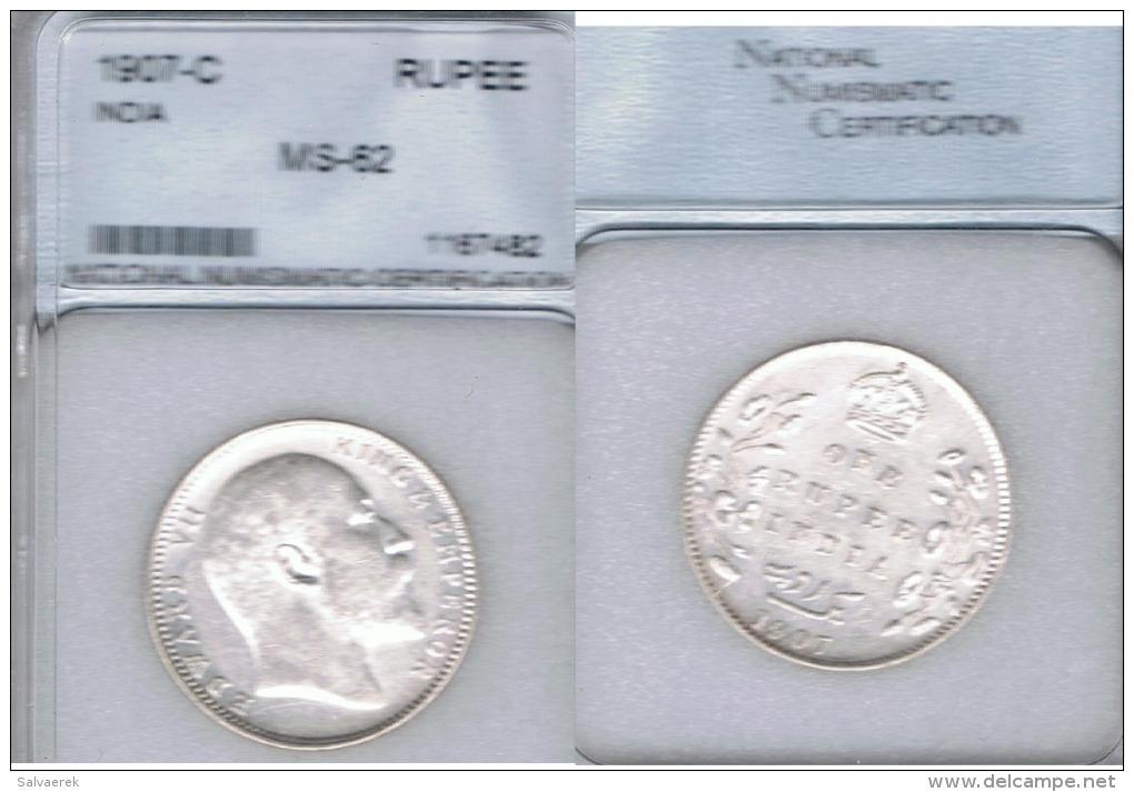INDIA RUPIA RUPEE EDUARDO VII 1907 PLATA SILVER - India