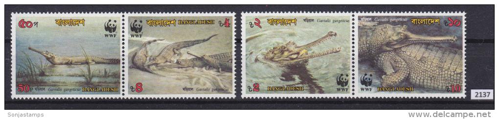 + BANGLADESH 1990; Complete Set; Mi: 323 - 326; MNH; WWF, Gharial, Ganges Gavial, Crocodile, Gavialis Gangeticus - Bangladesh