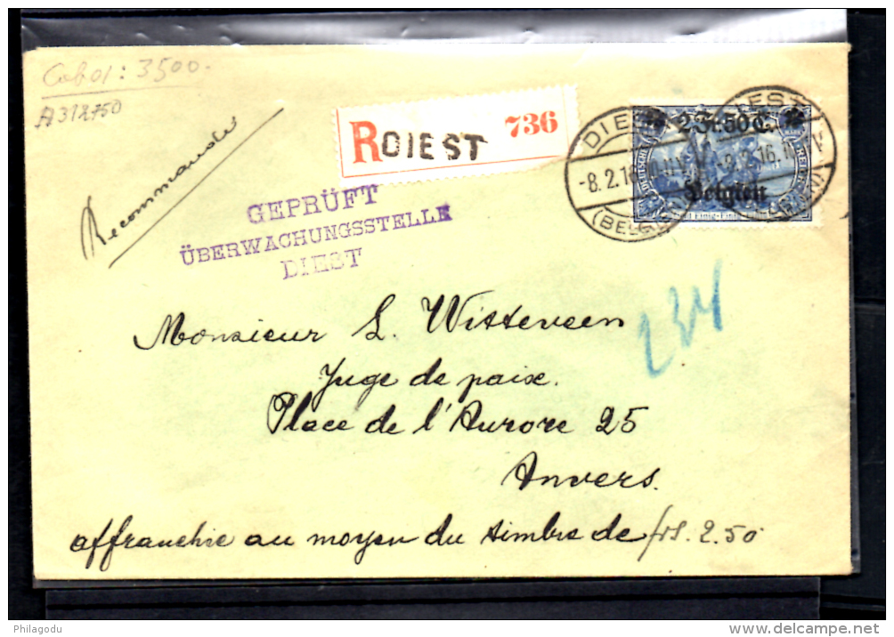 2F50  Lettre Recommandée Censurée De Diest Vers Anvers, OC 8 - [OC1/25] Gouv. Gén.