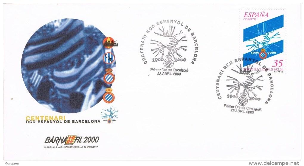 12739. Carta BARCELONA 2000. Centenario Club Futbol Espanyol - 1931-Hoy: 2ª República - ... Juan Carlos I
