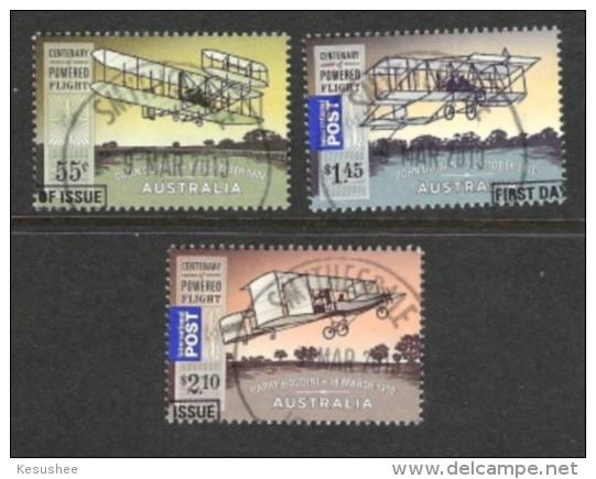 AUSTRALIEN 2010  100 JAHRE MOTORFLUG IN AUS  Mi 3349/51 GEST - 2010-... Elizabeth II