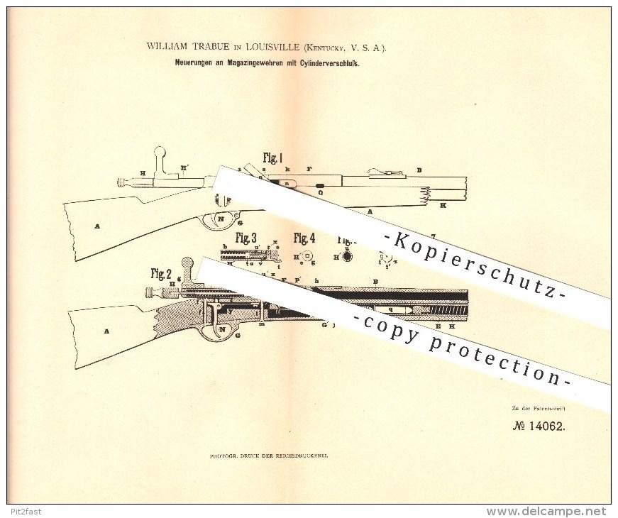 Original Patent - W. Trabue In Louisville , Kentucky , 1880 , Magazingewehr Mit Zylinderverschluss , Waffen , Gewehr !!! - Documents