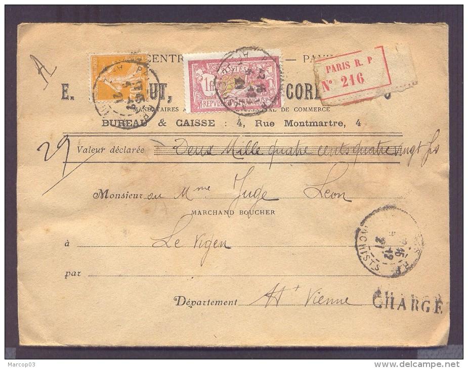 CHARGE Lettre Valeur Déclarée 2480 Frs Paris Affranchissement 04/12/1921 1 Fr Merson 30 C Semeuse Jaune TB - Poststempel (Briefe)