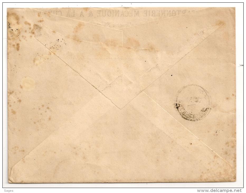 Usine Hydraulique Saint Barnabé, MARSEILLE Bouches Du Rhone Sur Enveloppe SAGE - 1877-1920: Période Semi Moderne