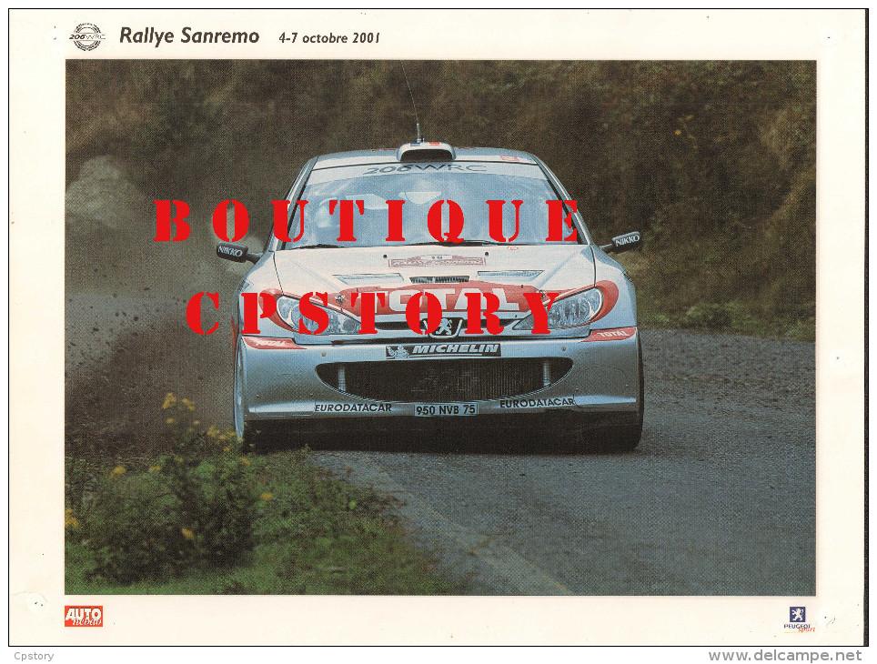 RALLYE AUTOMOBILE Du SANREMO - VOITURE PEUGEOT 206 - AUTO COURSE - PUBLICITE TOTAL & MICHELIN - 30x40 - Cars
