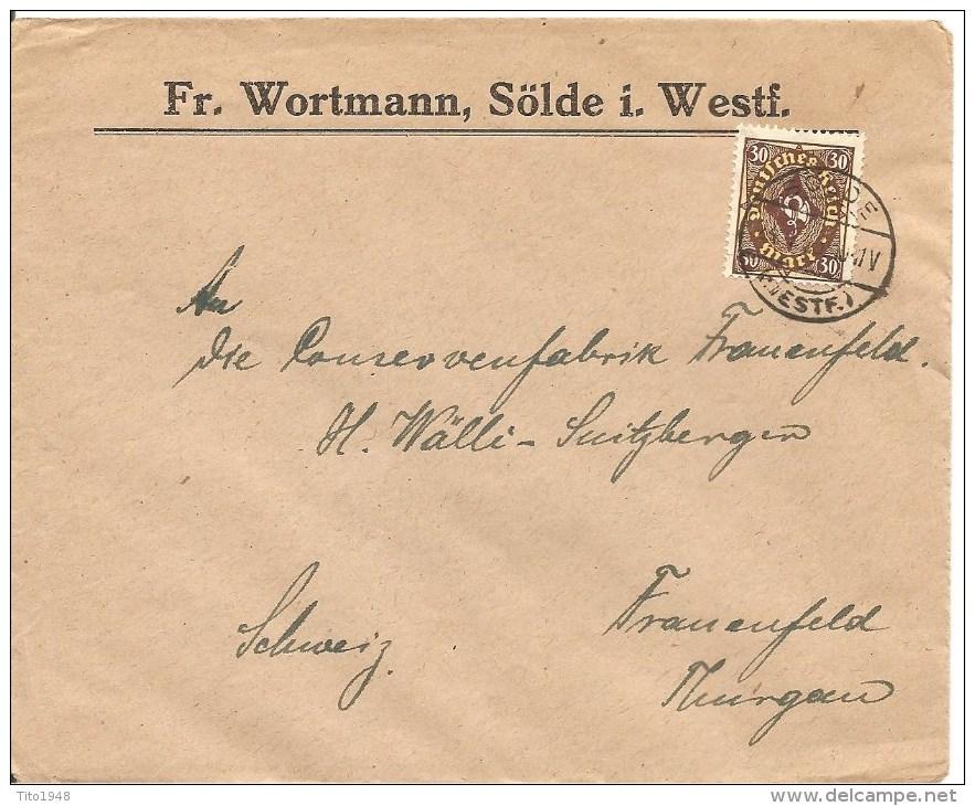 1923 Deutschland, Brief, Drucksache, Sölde 24.1.23 Nach Schweiz, Mi 208, Siehe Scans! - Briefe U. Dokumente