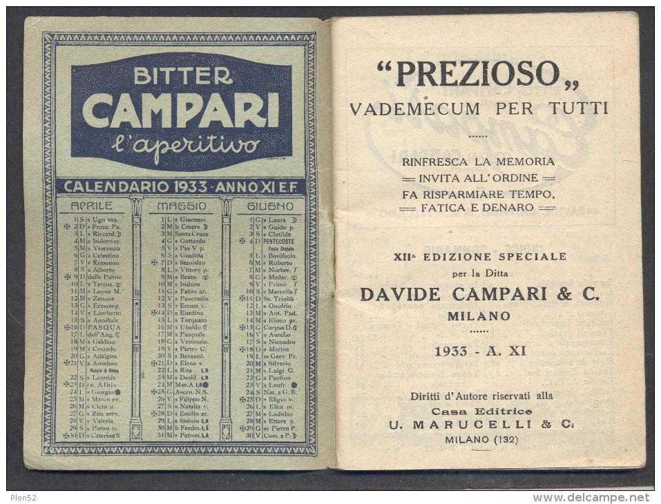 """9539-""""PREZIOSO"""" VADEMECUM 1933-CAMPARI-CALENDARIO - Calendari"""