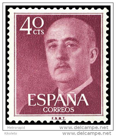 ESPAÑA AÑO 1955 EDIFIL 1148 ** MNH - GENERAL FRANCO - 40 Cts -  Sello Nuevo Sin Señal De Fijasellos - 1931-Hoy: 2ª República - ... Juan Carlos I