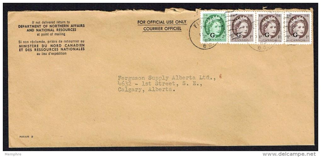 1963   Used Official Envelope Wilding Portrait «G» Overprint Sc O40 X3, O41 - 1952-.... Règne D'Elizabeth II