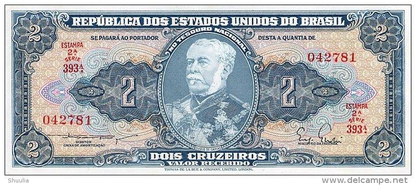 Brasil 2 Cruzeros 1954-58 Pick 157Aa AUNC - Brésil