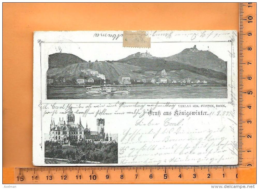 KÖNIGSWINTER: : Lithographie Multi Vues, Gruss, - Koenigswinter