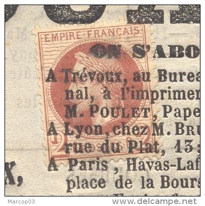 JOURNAL DE TREVOUX  Avec N° 26 2 C Lauré Oblitération Typographique Du 30/08/1868 Rare Utilisation Fiscale Du 2 C TTB - Marcofilia (sobres)