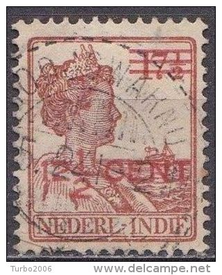 Ned. Indië: Langebalkstempel MODJOWARNO Op 1921-1922 Hulpuitgifte Koningin Wilhelmina 12½  /17½  Cent Roodbruin NVPH 142 - Indes Néerlandaises