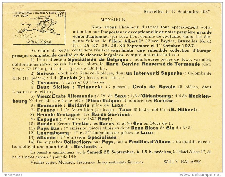 240/23 - IMPRIME TP Houyoux ( Emploi Tardif) , Petit Sceau Et Lion BRUXELLES 1937 Vers Hollande - TARIF EXACT 35 C - 1922-1927 Houyoux