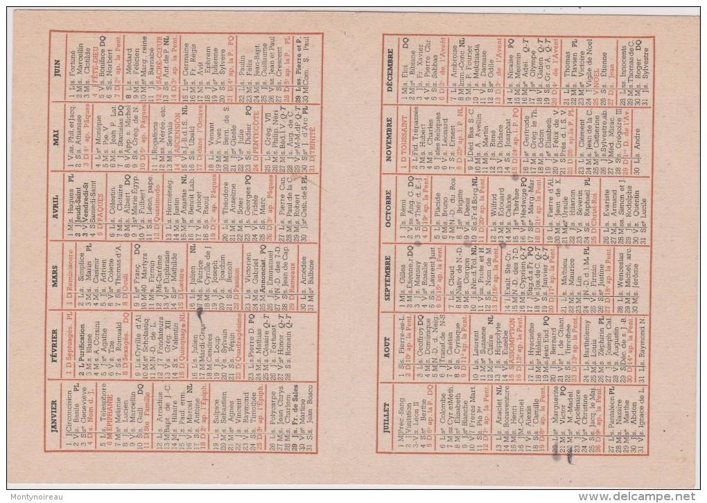 Calendrier :  1942 , Oeuvre De Saint  François De  Sales , Imp A  Bourges  Tardy - Calendriers