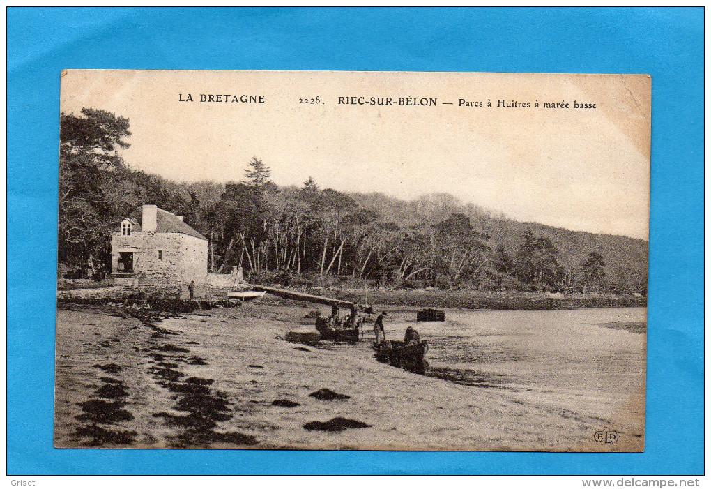 RIEC SUR BELON-parc à, Huitres à Marée Basse -plan Animé -édition E L D -années 1900-10 - Autres Communes