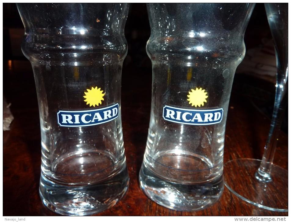 2 VERRES  ANCIENS PUB RICARD ET 1 FLUTE CRISTAL GODME - Gläser