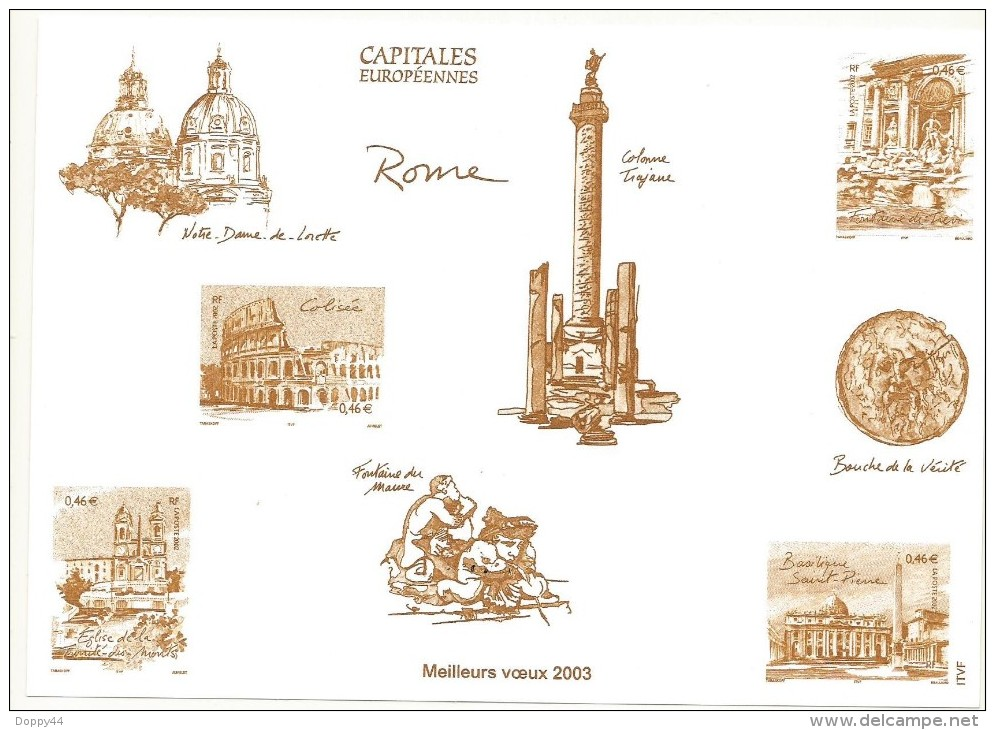 GRAVURE MEILLEURS VOEUX 2003  CAPITALES EUROPEENNES ROME - Sheetlets
