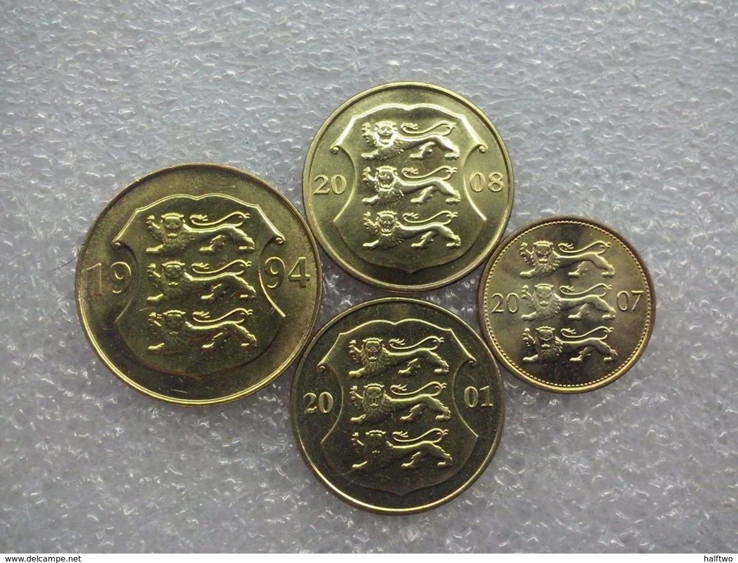 Eesti(Estonia) 4 Coin Set : 50 Senti(cents) - 5 Krooni(crown) , UNC - Estonie