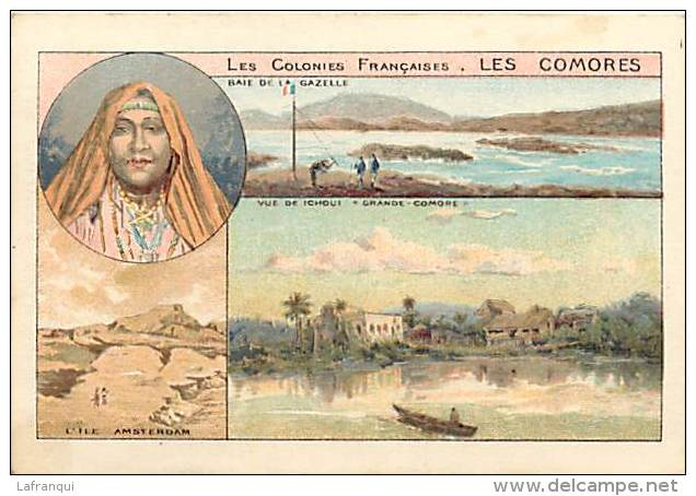 Dept Div -ref U567- Chromo Dimensions :10,5cms X 7 Cms - Les Comores -baie De La Gazelle -vue De Ichoui  - - Comoren
