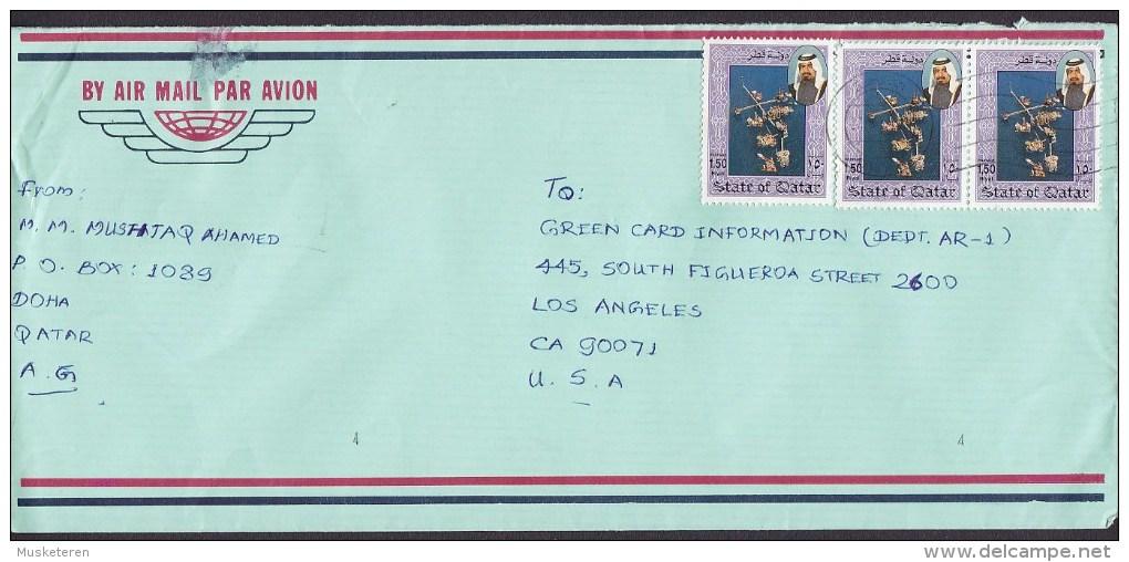 Qatar Air Mail Par Avion DOHA 1993 Cover Brief LOS ANGELES United States 3x Erdölindustrie Oil Industry Stamps - Qatar