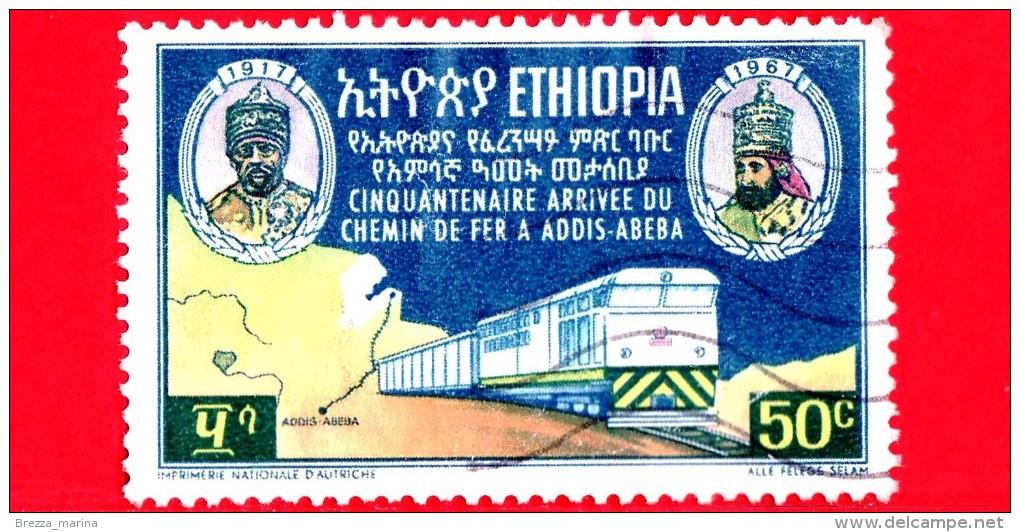 ETIOPIA - Usato - 1967 - 50 Anni Della Ferrovia Djibouti-Addis Abeba - 50 - Etiopia