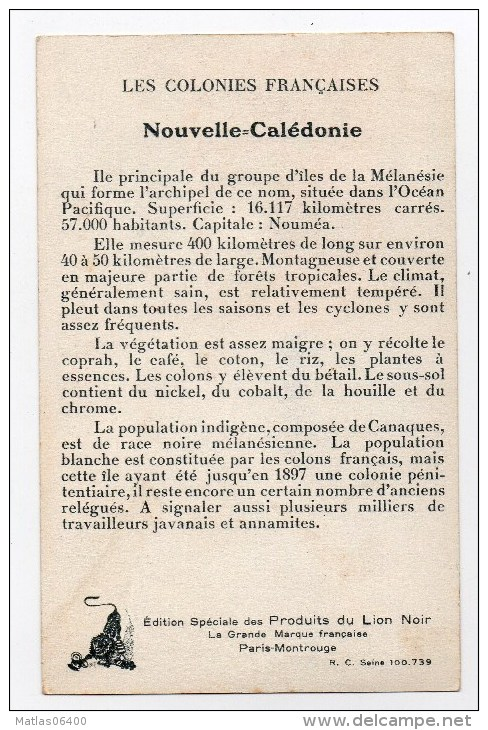 """Colonies Française - Nouvelle Calédonie -  Carte Pub Du Cirage   """" Lion Noir  """"   Tres Bon état - Nouvelle Calédonie"""