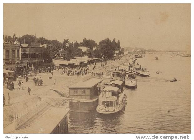 Le Point Du Jour Bateaux Paris Pittoresque Ancienne Photo Instantanée 1885 - Old (before 1900)