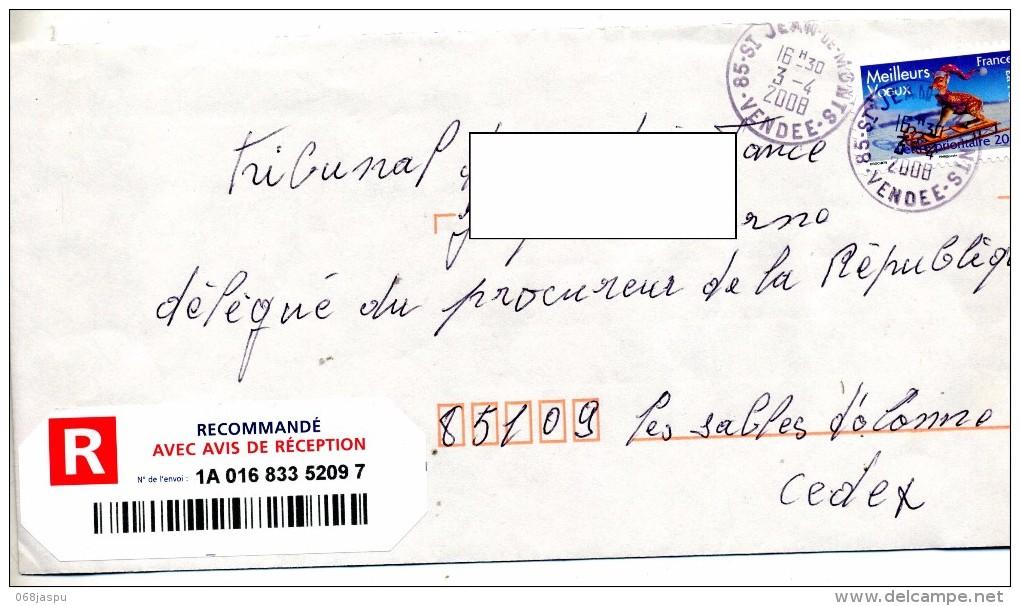 Lettre Recommandee Saint Jean De Monts - Marcophilie (Lettres)