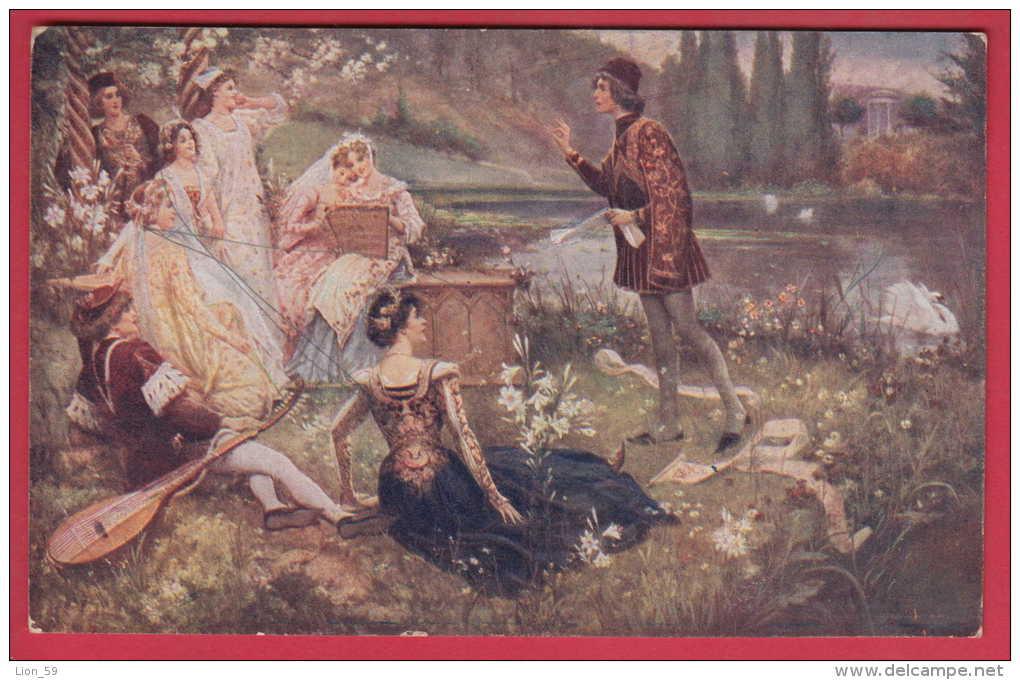 171883 / ITALY Art Salvatore Postiglio - Scene Of The Narration Of The Decameron ( Giovanni Boccaccio )  52 Bulgaria - Schilderijen