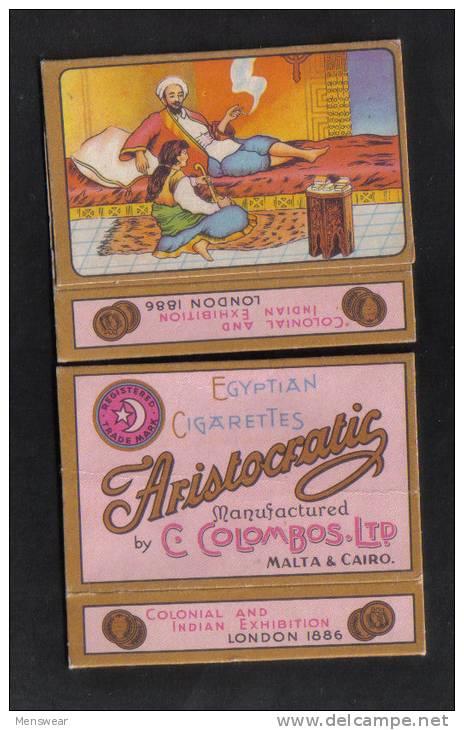 ARISTOCRATIC  C.COLOMBOS LTD.CAIRO MALTA  PACKET OF 10 CIGARETTE - 1910 VERY RARE - - Empty Cigarettes Boxes