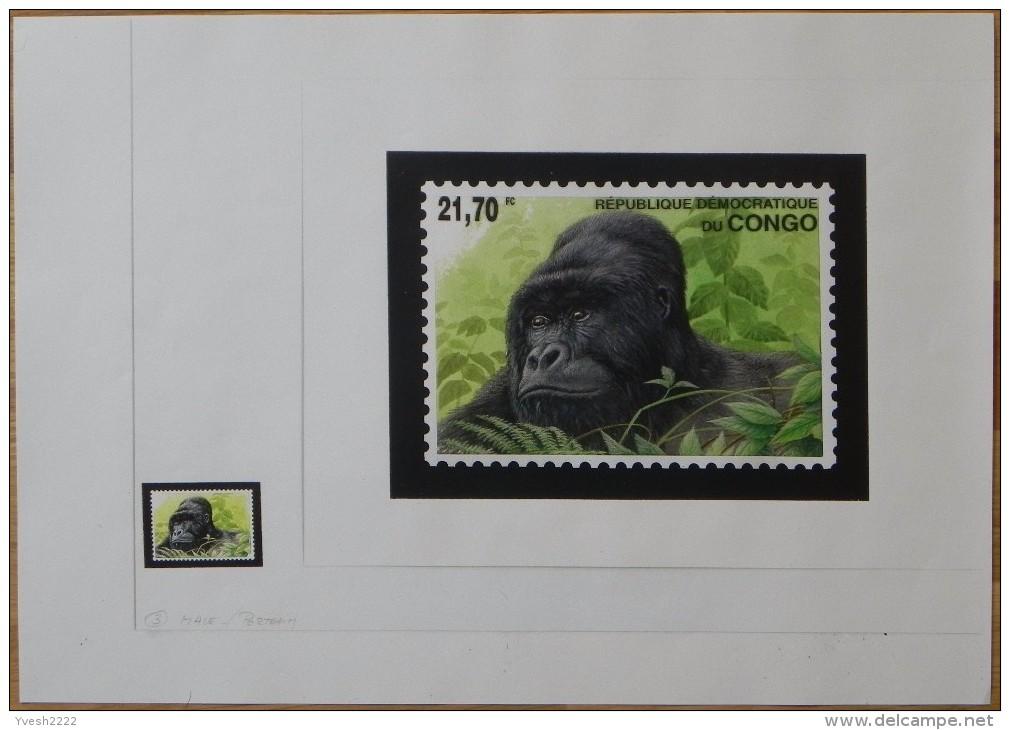 Congo Kin 2002 COB 1227/30. 4 Dessins Originaux, Du Dessinateur André Buzin à L´imprimeur, WWF, Gorilles. Unique - Gorilles