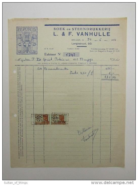 Facture Invoice Brugge Bruges Boek En Steen Drukkerij Imprimerie Vanhulle Langestraat Papuros 1954 - Printing & Stationeries