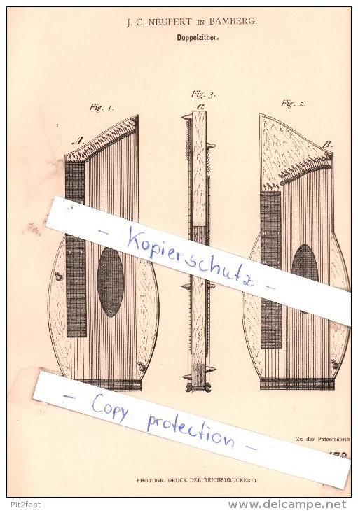 Original Patent - . C. Neupert In Bamberg , 1881 , Doppelzither , Zither  !!! - Musikinstrumente