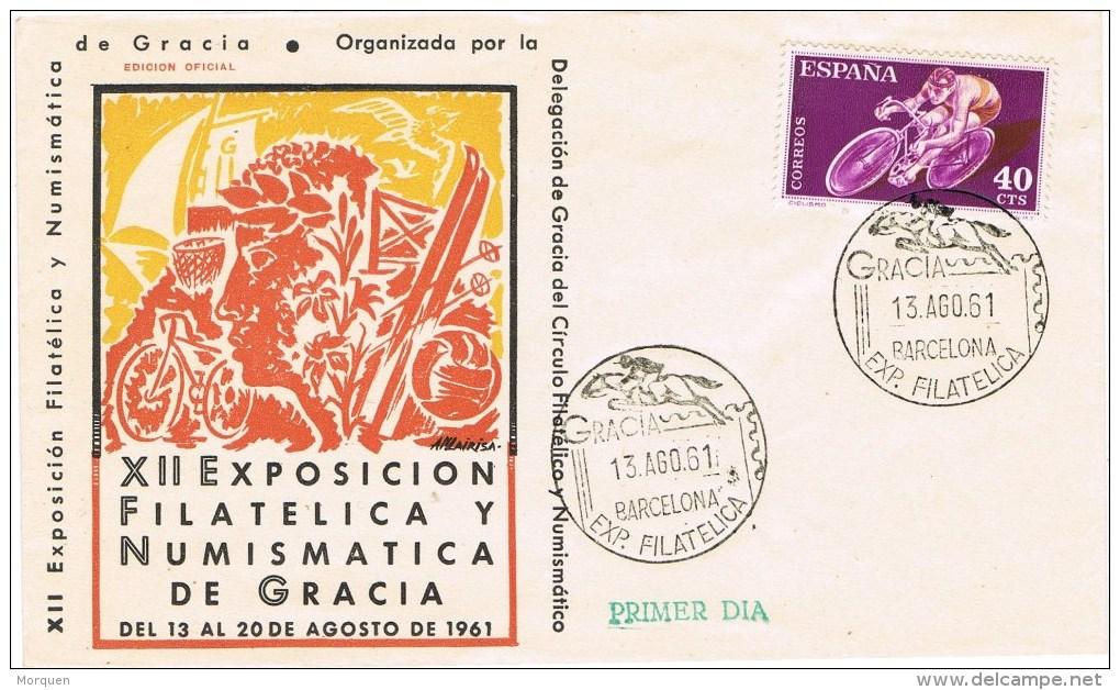 12874. Carta Exposicion GRACIA (Barcelona) 1961, Deporte Hipica, Ciclismo - 1931-Hoy: 2ª República - ... Juan Carlos I