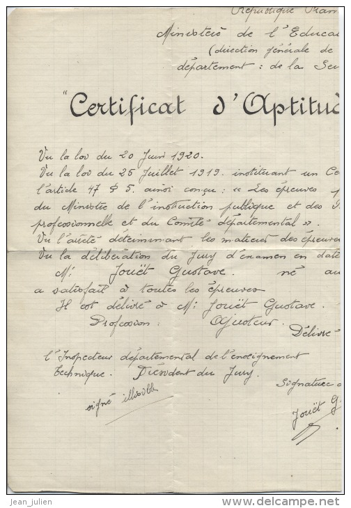76  - LE HAVRE -  CERTIFICAT D´APTITUDE PROFESSIONNELLE   -  Manuscrit  -  1920 - Diplome Und Schulzeugnisse