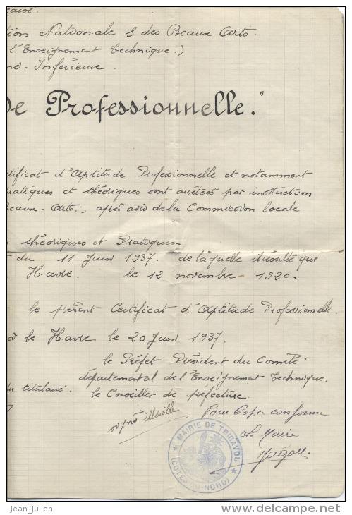 76  - LE HAVRE -  CERTIFICAT D´APTITUDE PROFESSIONNELLE   -  Manuscrit  -  1920 - Diploma & School Reports