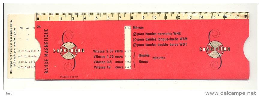 Audio, Musique - Règle à Calcul Pour Bande Magnétique - Bobine Pour Magnétophone. - Varia