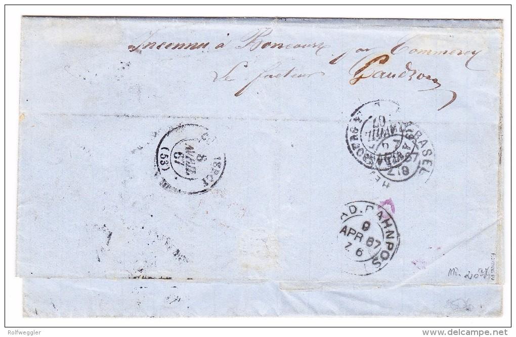 Baden 7.4.1867 Heidelberg Mit Mi.#20 Auf Brief über F Nach Boncourt CH Retour Gesendet Signiert Flemming BPP - Bade