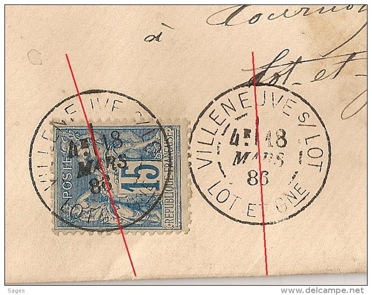 DAGUIN R84/romain VILLENEUVE S LOT Lot Et Garonne Sur Enveloppe Au Type SAGE. 18 MARS 1886 - 1877-1920: Période Semi Moderne